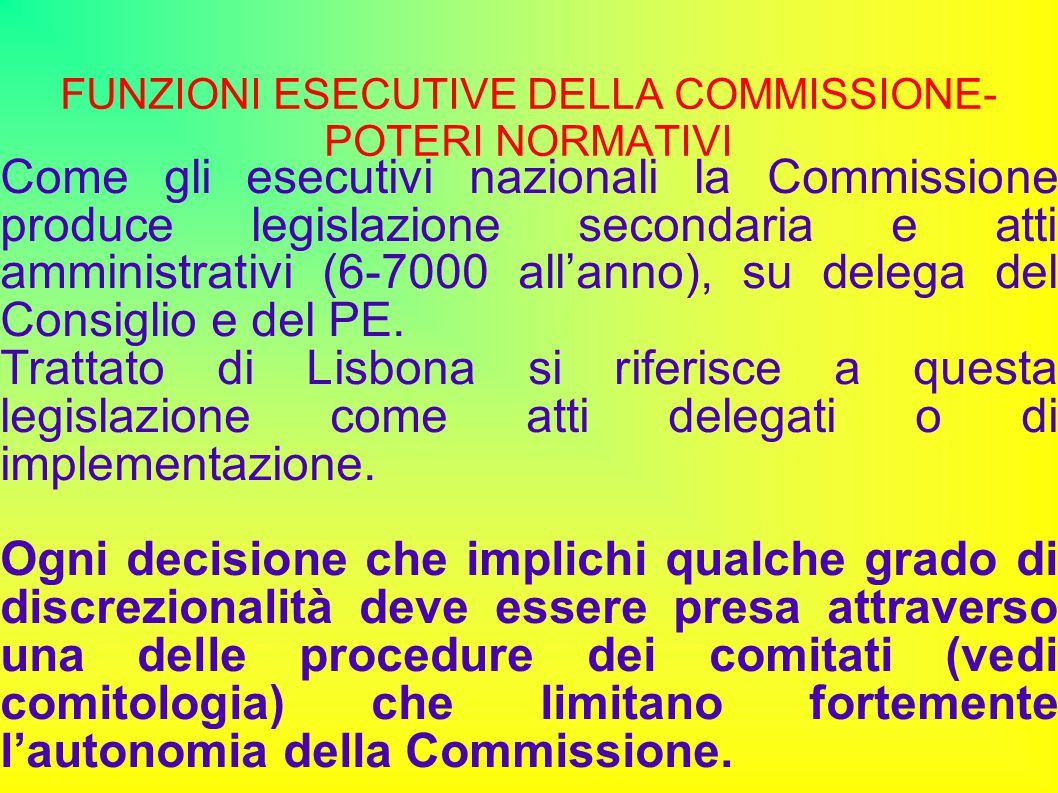 FUNZIONI ESECUTIVE DELLA COMMISSIONE- POTERI NORMATIVI Come gli esecutivi nazionali la Commissione produce legislazione secondaria e atti amministrativi (6-7000 all'anno), su delega del Consiglio e del PE.