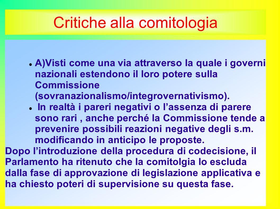 Critiche alla comitologia A)Visti come una via attraverso la quale i governi nazionali estendono il loro potere sulla Commissione (sovranazionalismo/integrovernativismo).
