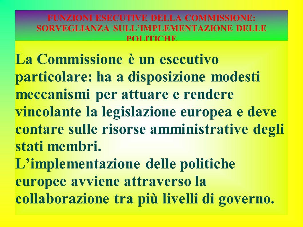 FUNZIONI ESECUTIVE DELLA COMMISSIONE: SORVEGLIANZA SULL'IMPLEMENTAZIONE DELLE POLITICHE La Commissione è un esecutivo particolare: ha a disposizione modesti meccanismi per attuare e rendere vincolante la legislazione europea e deve contare sulle risorse amministrative degli stati membri.