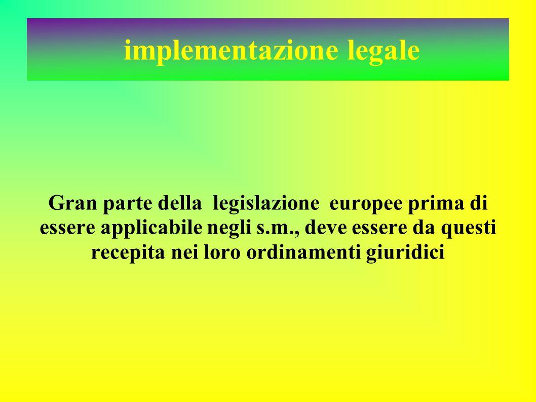 implementazione legale Gran parte della legislazione europee prima di essere applicabile negli s.m., deve essere da questi recepita nei loro ordinamenti giuridici