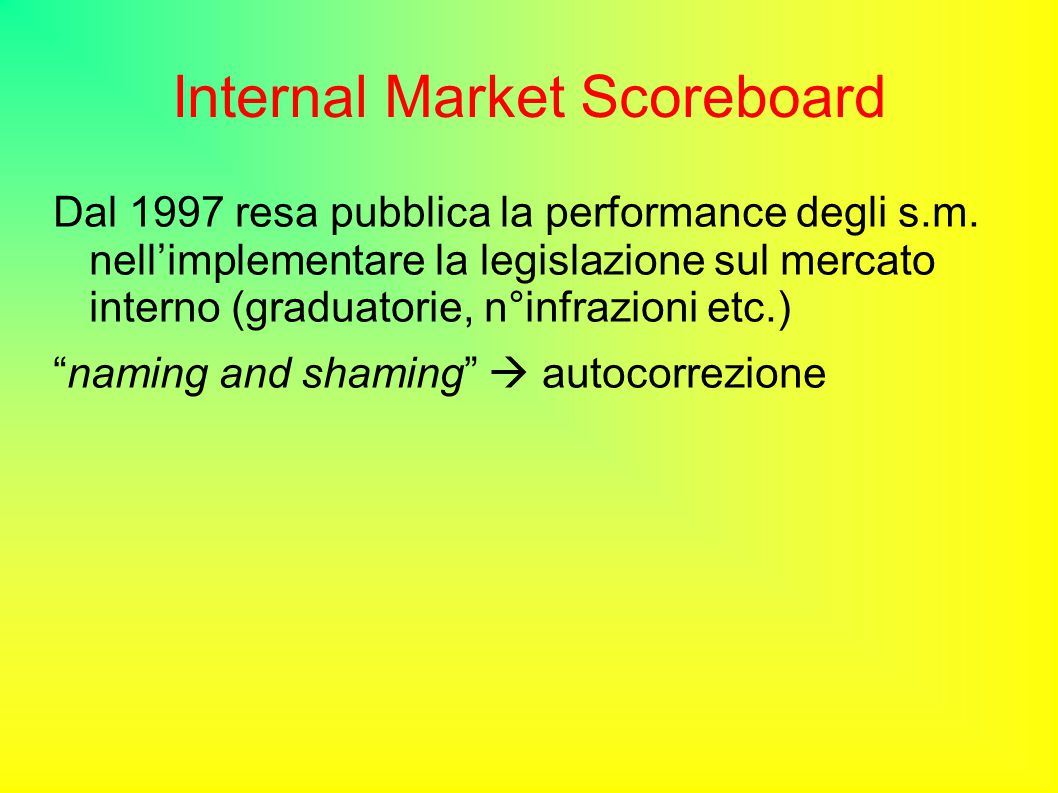 Internal Market Scoreboard Dal 1997 resa pubblica la performance degli s.m.