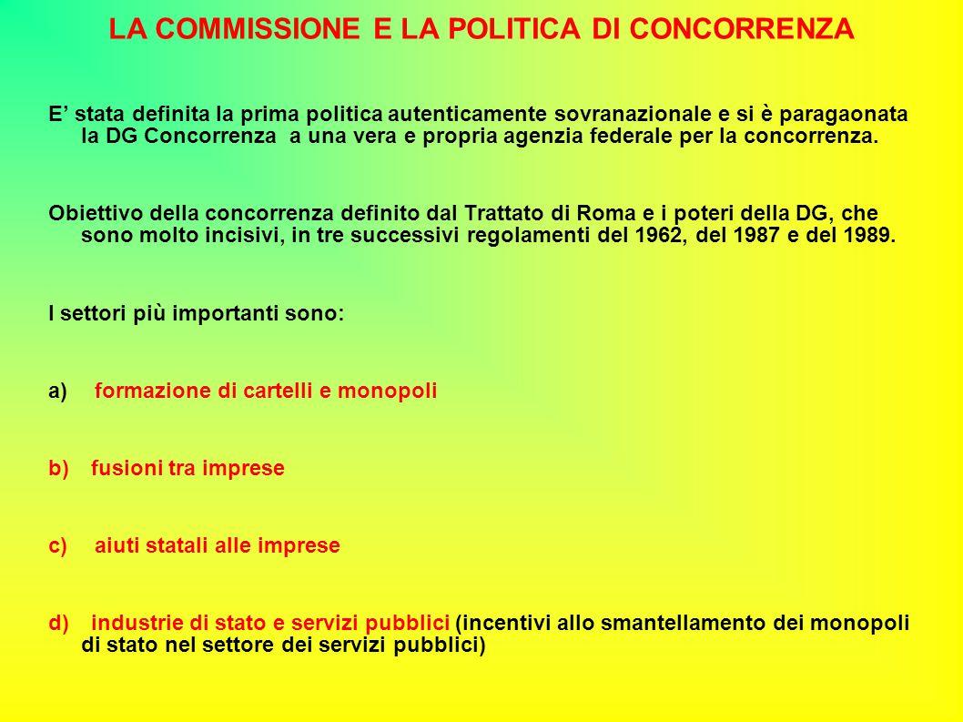 LA COMMISSIONE E LA POLITICA DI CONCORRENZA E' stata definita la prima politica autenticamente sovranazionale e si è paragaonata la DG Concorrenza a una vera e propria agenzia federale per la concorrenza.