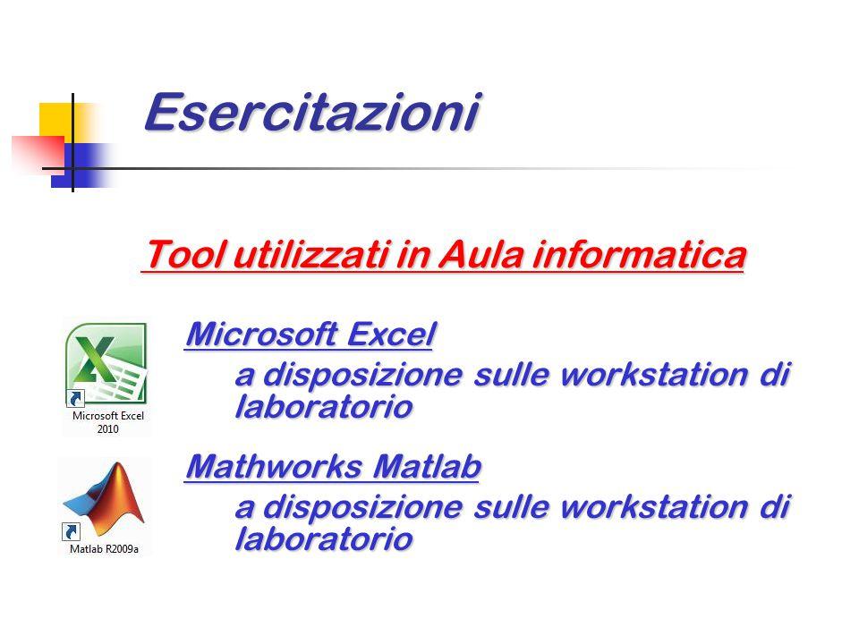 Esercitazioni Esercitazioni Tool utilizzati in Aula informatica Microsoft Excel a disposizione sulle workstation di laboratorio Mathworks Matlab a dis