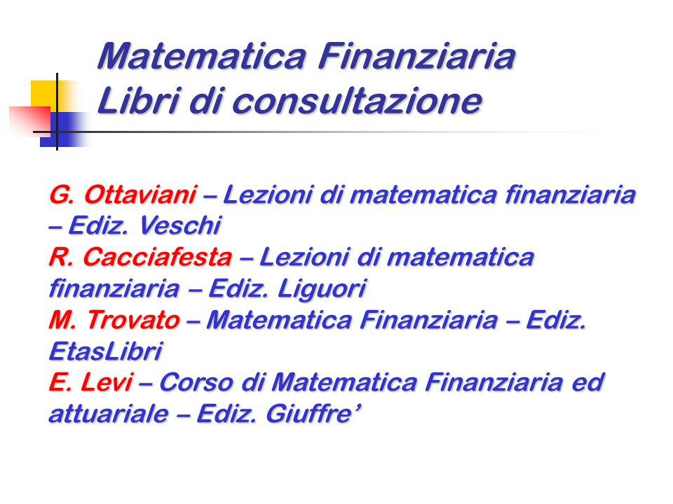 Matematica Finanziaria Libri di consultazione G. Ottaviani – Lezioni di matematica finanziaria – Ediz. Veschi R. Cacciafesta – Lezioni di matematica f