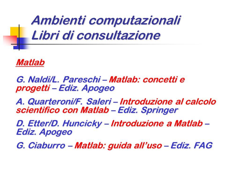 Ambienti computazionali Libri di consultazione Matlab G. Naldi/L. Pareschi – Matlab: concetti e progetti – Ediz. Apogeo A. Quarteroni/F. Saleri – Intr