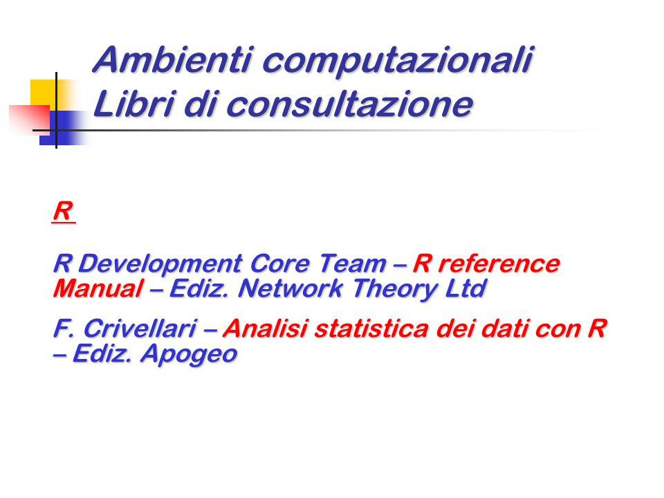Ambienti computazionali Libri di consultazione R R Development Core Team – R reference Manual – Ediz. Network Theory Ltd F. Crivellari – Analisi stati