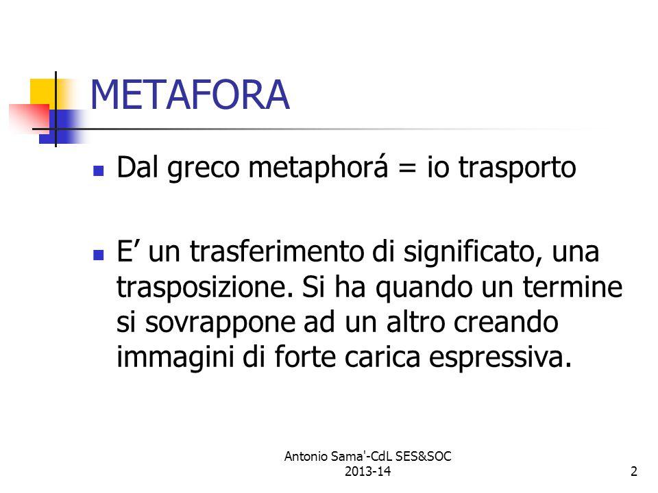 2 METAFORA Dal greco metaphorá = io trasporto E' un trasferimento di significato, una trasposizione.