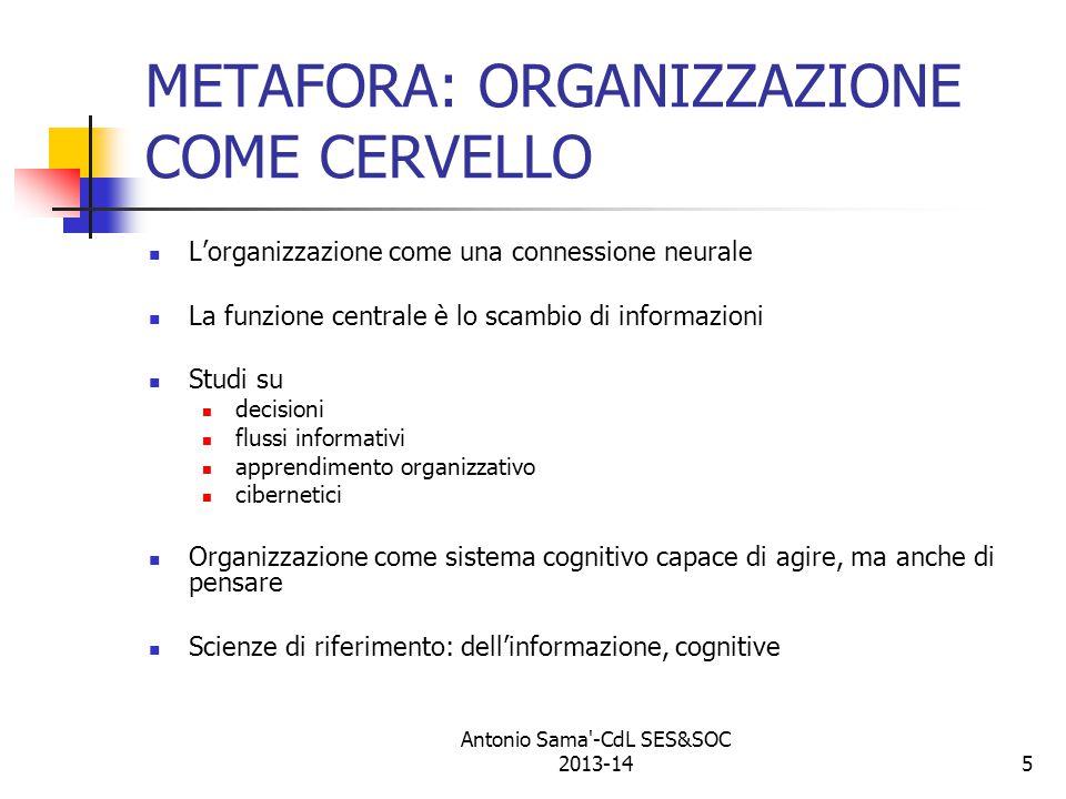 5 METAFORA: ORGANIZZAZIONE COME CERVELLO L'organizzazione come una connessione neurale La funzione centrale è lo scambio di informazioni Studi su decisioni flussi informativi apprendimento organizzativo cibernetici Organizzazione come sistema cognitivo capace di agire, ma anche di pensare Scienze di riferimento: dell'informazione, cognitive Antonio Sama -CdL SES&SOC 2013-14