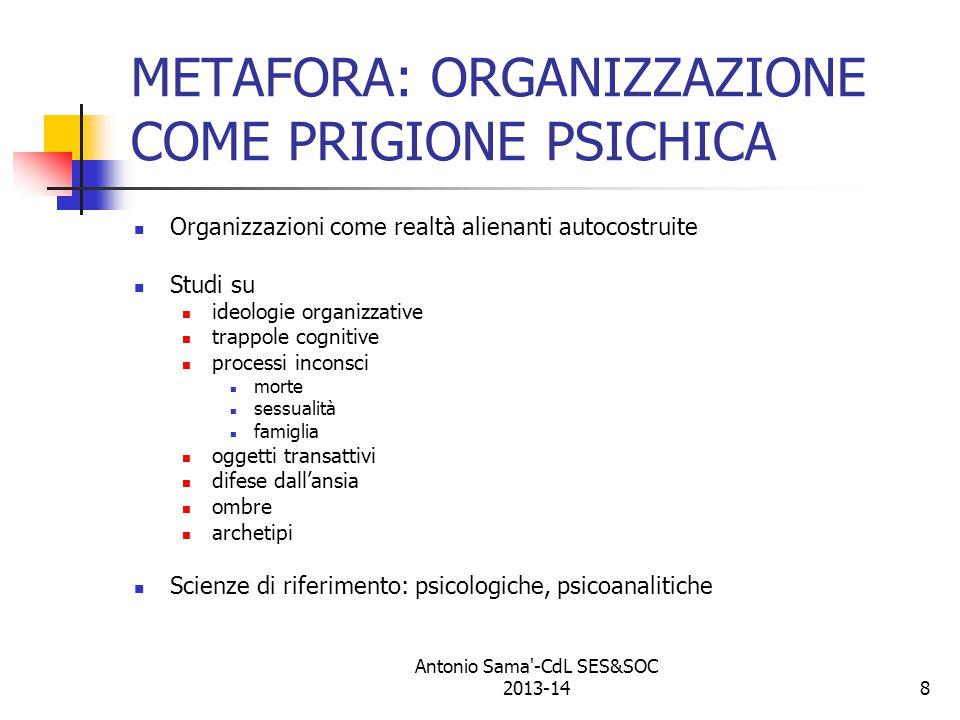 9 METAFORA: ORGANIZZAZIONE COME FLUSSO Organizzazione come autorganizzazione Studi di contesti organizzativi feedback attività autogestite Scienze di riferimento: autopoietiche, della complessità Antonio Sama -CdL SES&SOC 2013-14