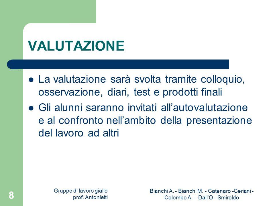 Gruppo di lavoro giallo prof. Antonietti Bianchi A.