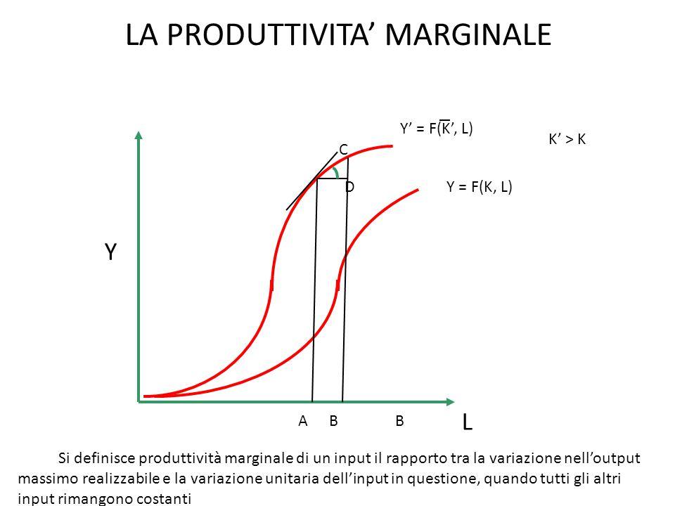 LA PRODUTTIVITA' MARGINALE Y L Y' = F(K', L) Y = F(K, L) K' > K BAB D C Si definisce produttività marginale di un input il rapporto tra la variazione