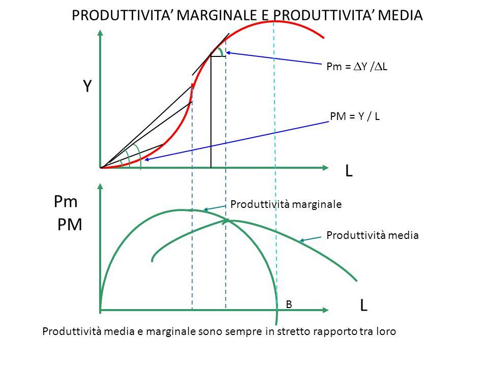 PRODUTTIVITA' MARGINALE E PRODUTTIVITA' MEDIA Y L Pm =  Y /  L PM = Y / L B Produttività media e marginale sono sempre in stretto rapporto tra loro