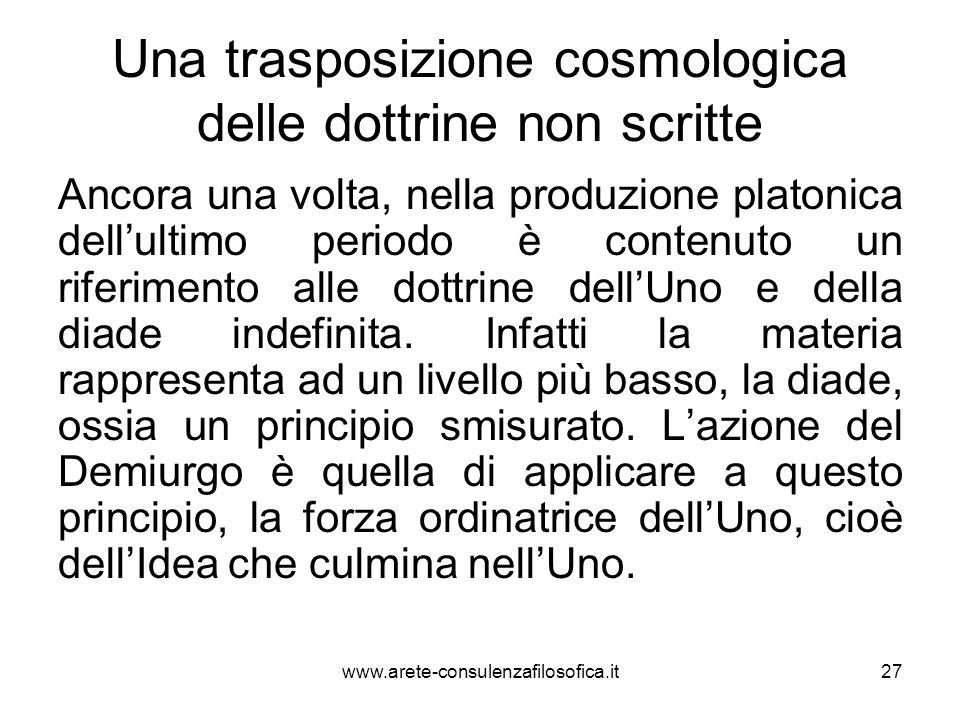 Una trasposizione cosmologica delle dottrine non scritte Ancora una volta, nella produzione platonica dell'ultimo periodo è contenuto un riferimento a