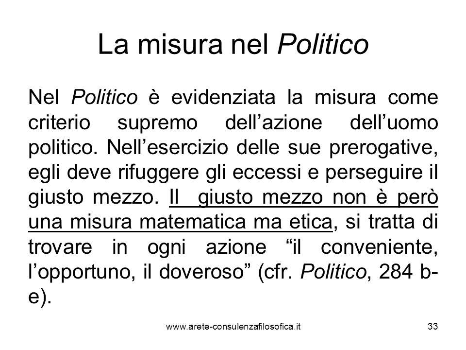 La misura nel Politico Nel Politico è evidenziata la misura come criterio supremo dell'azione dell'uomo politico. Nell'esercizio delle sue prerogative