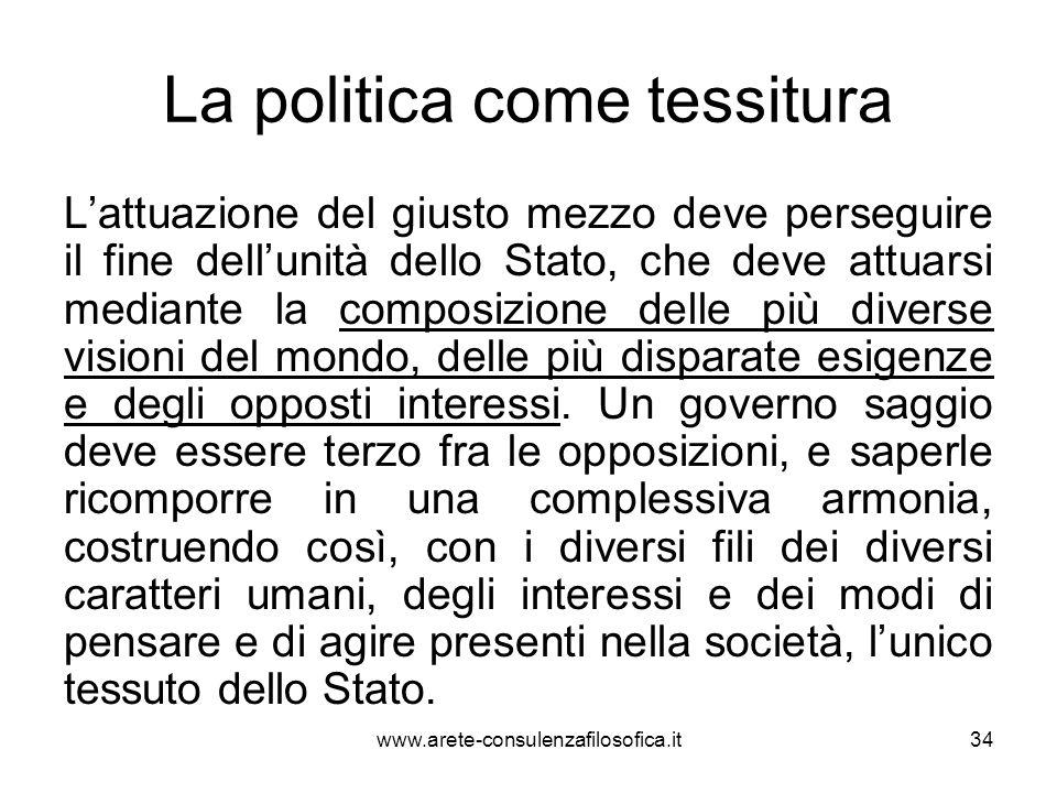 La politica come tessitura L'attuazione del giusto mezzo deve perseguire il fine dell'unità dello Stato, che deve attuarsi mediante la composizione de