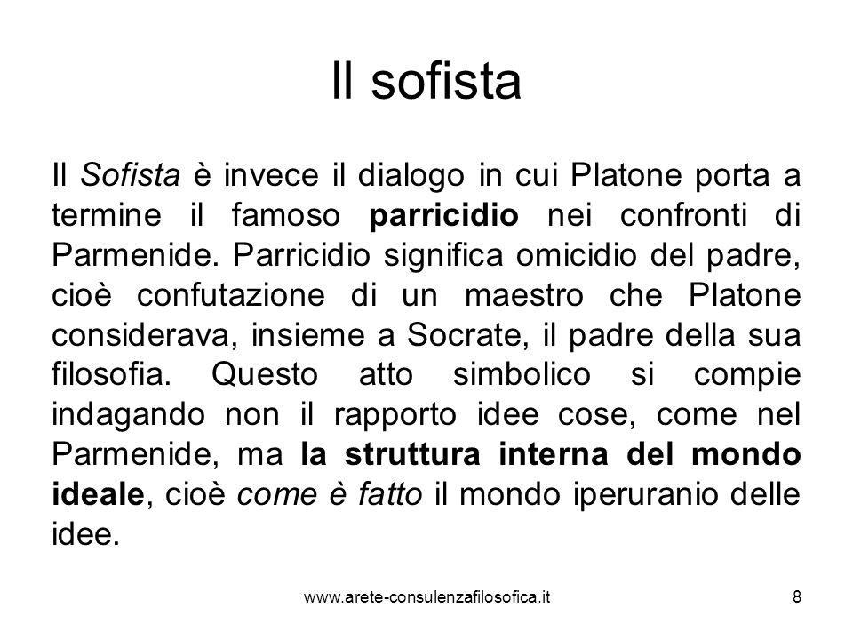 Il sofista Il Sofista è invece il dialogo in cui Platone porta a termine il famoso parricidio nei confronti di Parmenide. Parricidio significa omicidi