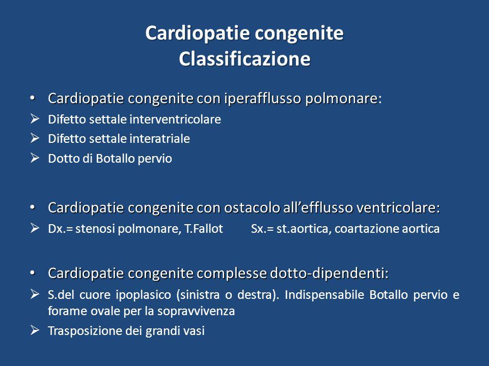 Cardiopatie congenite Classificazione Cardiopatie congenite con iperafflusso polmonare Cardiopatie congenite con iperafflusso polmonare:  Difetto settale interventricolare  Difetto settale interatriale  Dotto di Botallo pervio Cardiopatie congenite con ostacolo all'efflusso ventricolare: Cardiopatie congenite con ostacolo all'efflusso ventricolare:  Dx.= stenosi polmonare, T.Fallot Sx.= st.aortica, coartazione aortica Cardiopatie congenite complesse dotto-dipendenti: Cardiopatie congenite complesse dotto-dipendenti:  S.del cuore ipoplasico (sinistra o destra).