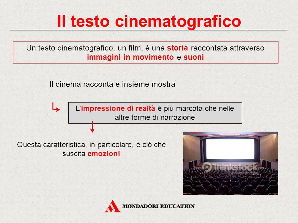 Il testo cinematografico Un testo cinematografico, un film, è una storia raccontata attraverso immagini in movimento e suoni Il cinema racconta e insi