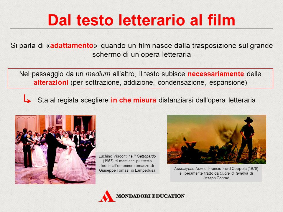 Dal testo letterario al film Si parla di «adattamento» quando un film nasce dalla trasposizione sul grande schermo di un'opera letteraria Nel passaggi