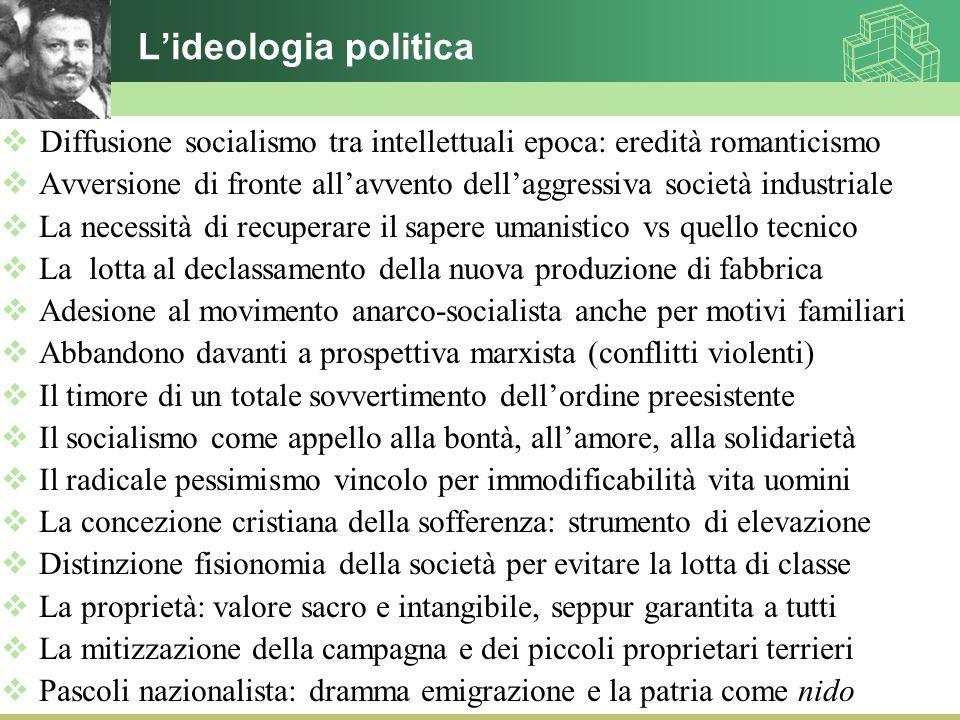 L'ideologia politica  Diffusione socialismo tra intellettuali epoca: eredità romanticismo  Avversione di fronte all'avvento dell'aggressiva società