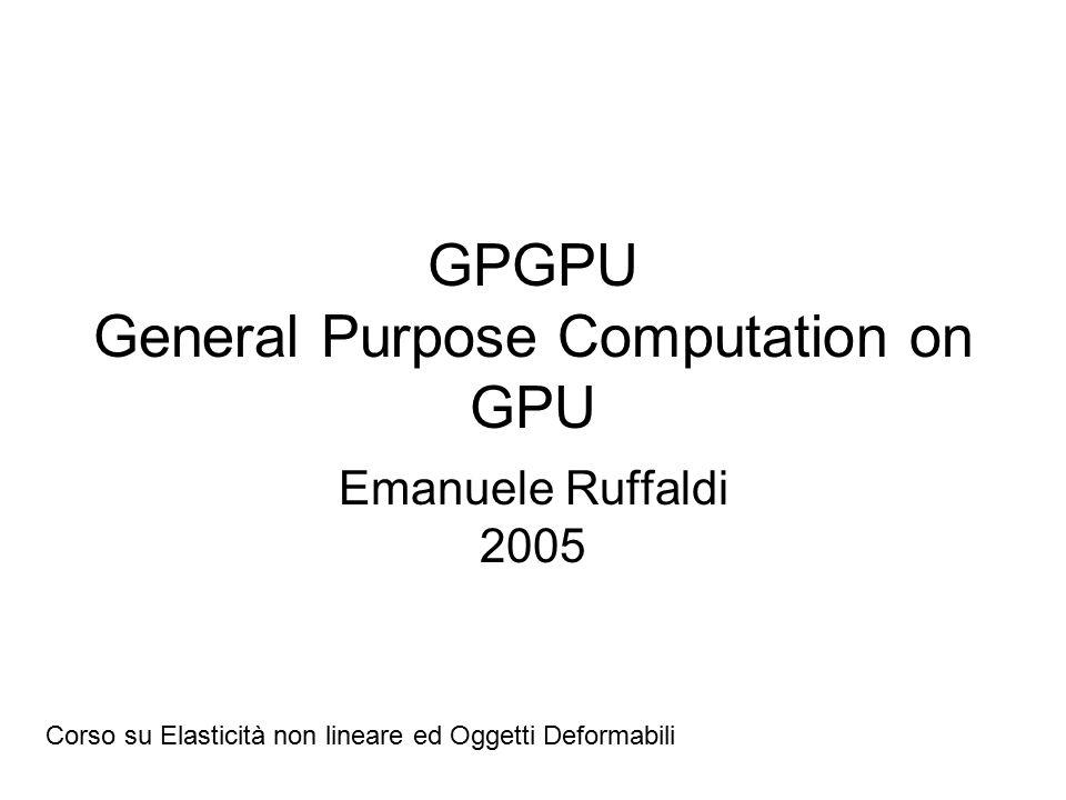 GPGPU General Purpose Computation on GPU Emanuele Ruffaldi 2005 Corso su Elasticità non lineare ed Oggetti Deformabili