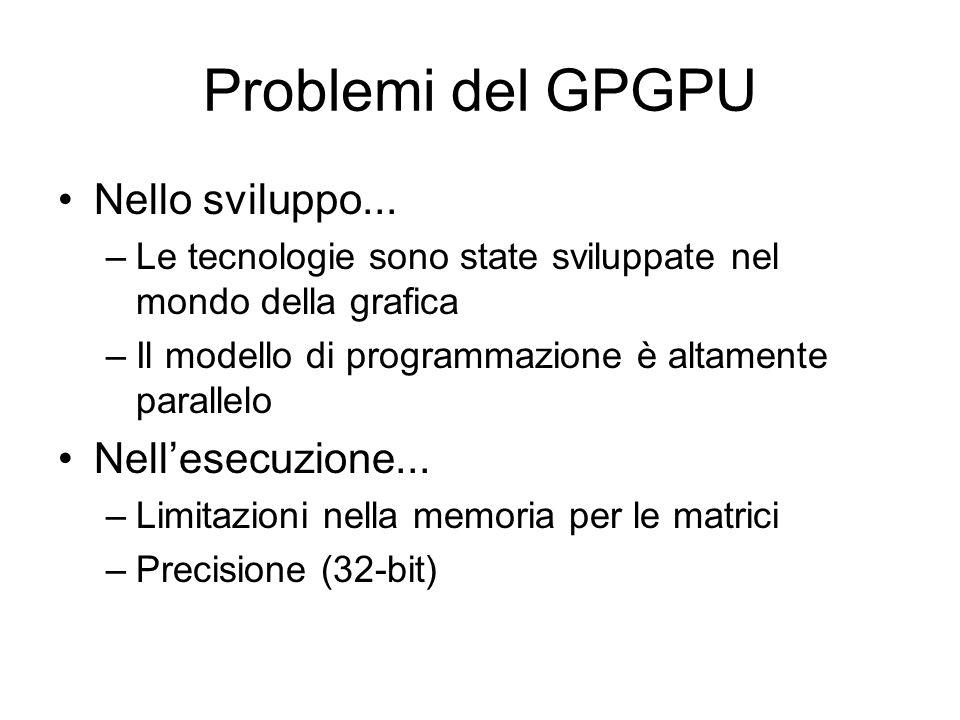 Problemi del GPGPU Nello sviluppo...