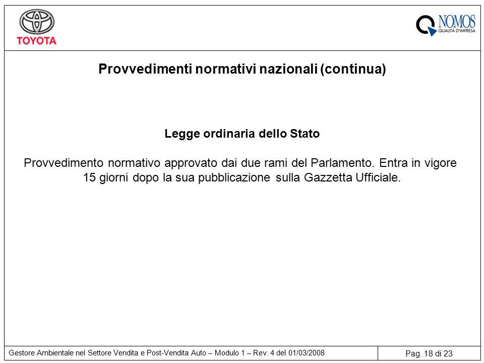 Pag. 18 di 23 Gestore Ambientale nel Settore Vendita e Post-Vendita Auto – Modulo 1 – Rev.