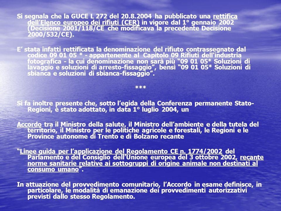 Si segnala che la GUCE L 272 del 20.8.2004 ha pubblicato una rettifica dell'Elenco europeo dei rifiuti (CER) in vigore dal 1° gennaio 2002 (Decisione 2001/118/CE che modificava la precedente Decisione 2000/532/CE).