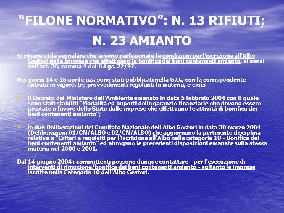 FILONE NORMATIVO : N. 13 RIFIUTI; N.