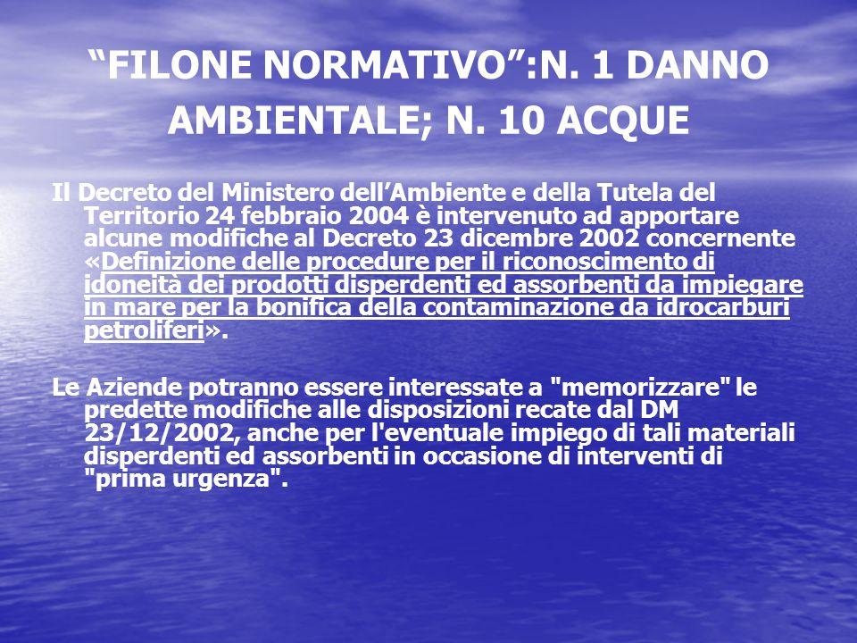 FILONE NORMATIVO :N. 1 DANNO AMBIENTALE; N.