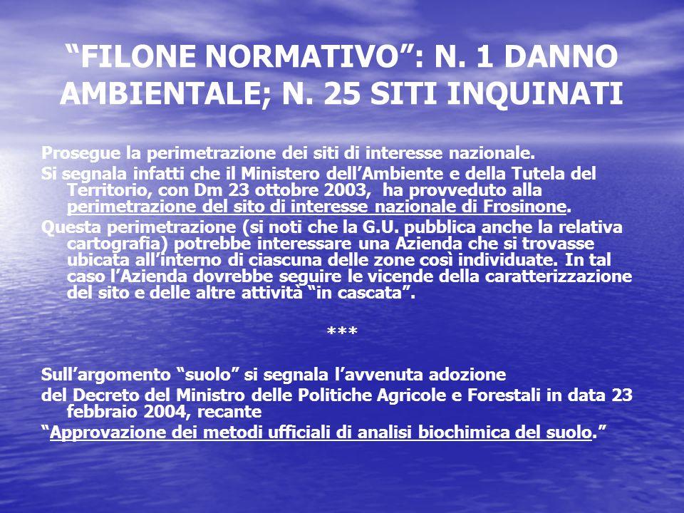 FILONE NORMATIVO : N. 1 DANNO AMBIENTALE; N.