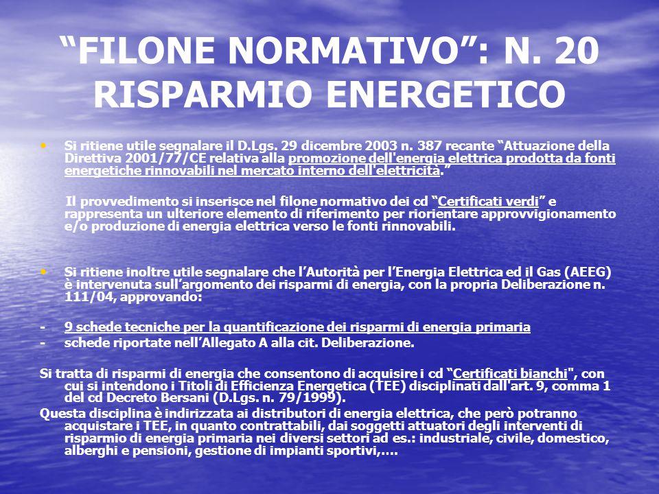 FILONE NORMATIVO : N. 20 RISPARMIO ENERGETICO Si ritiene utile segnalare il D.Lgs.