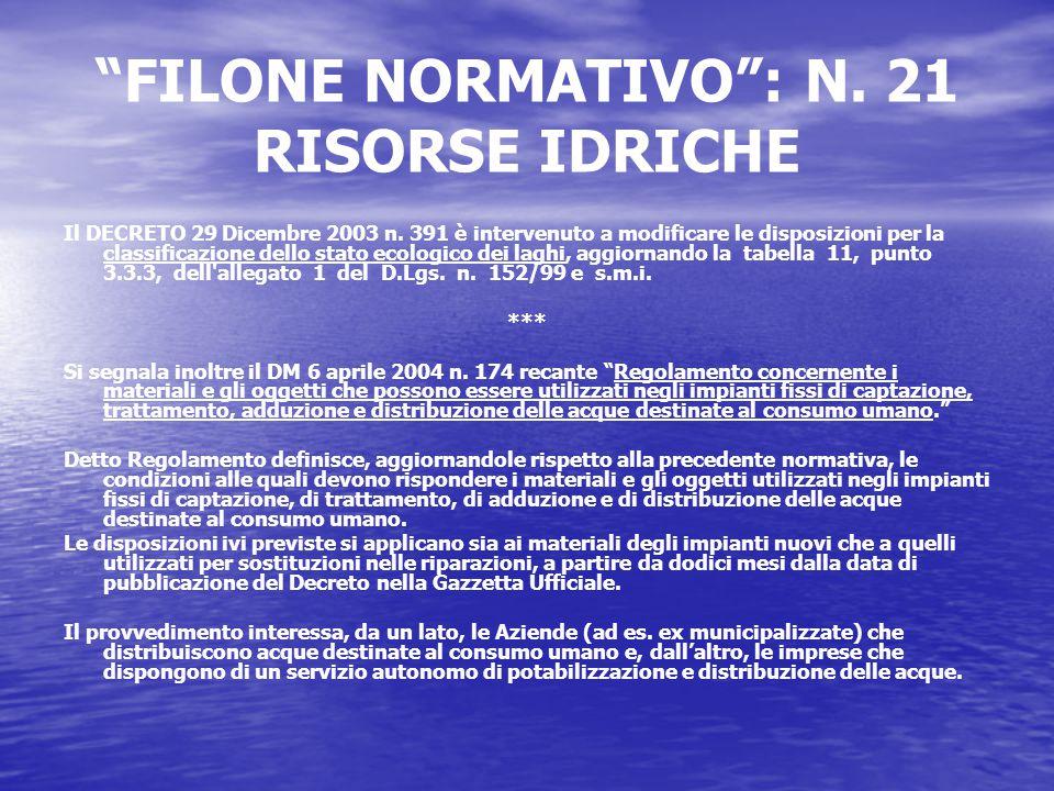 FILONE NORMATIVO : N. 21 RISORSE IDRICHE Il DECRETO 29 Dicembre 2003 n.