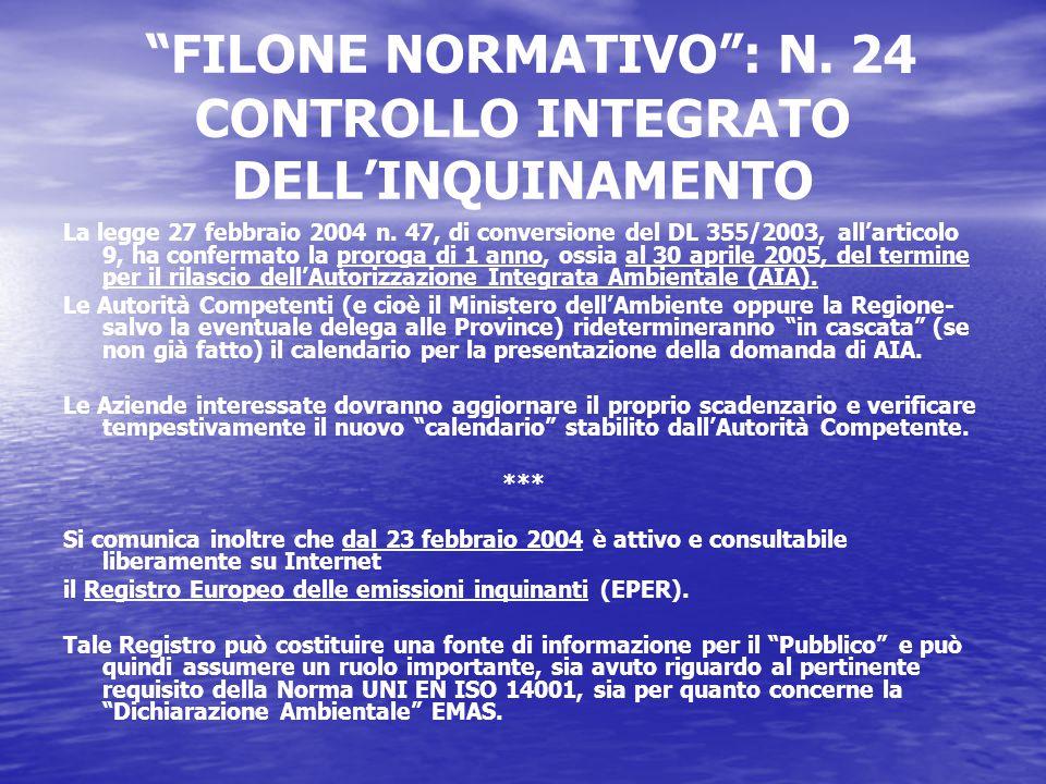 FILONE NORMATIVO : N. 24 CONTROLLO INTEGRATO DELL'INQUINAMENTO La legge 27 febbraio 2004 n.