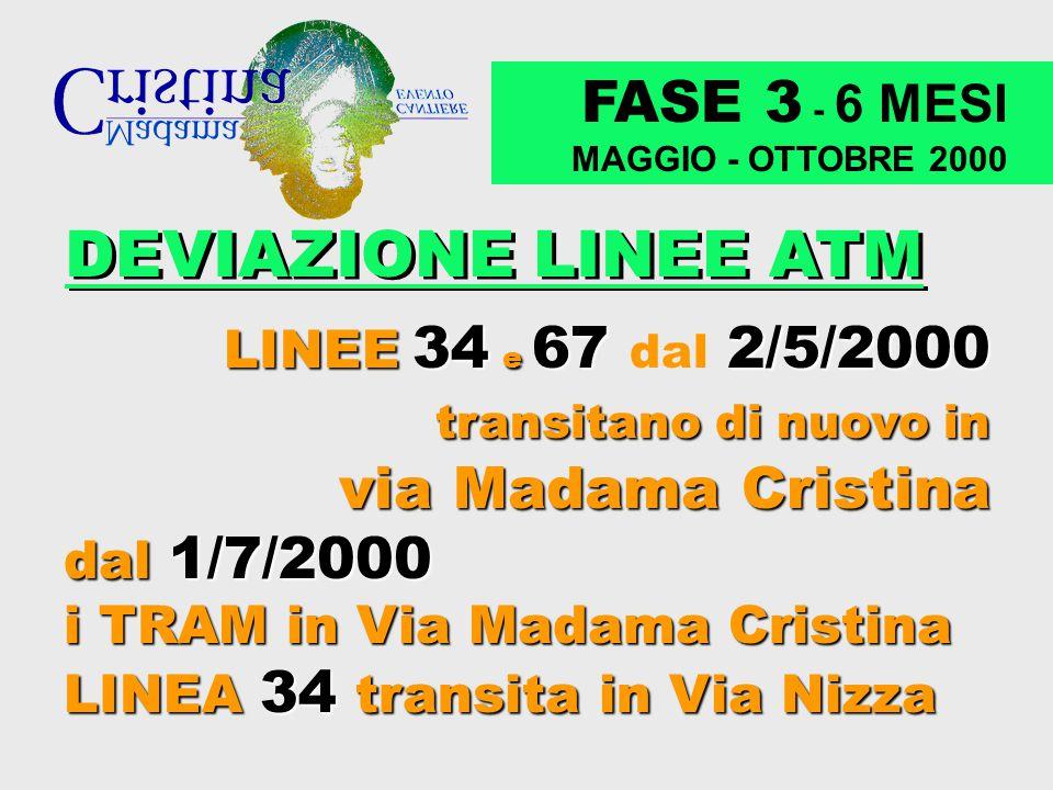 FASE 3 - 6 MESI MAGGIO - OTTOBRE 2000 DEVIAZIONE LINEE ATM LINEE LINEE 34 34 e 67 67 dal 2/5/2000 transitano di nuovo in via Madama Cristina dal 1/7/2