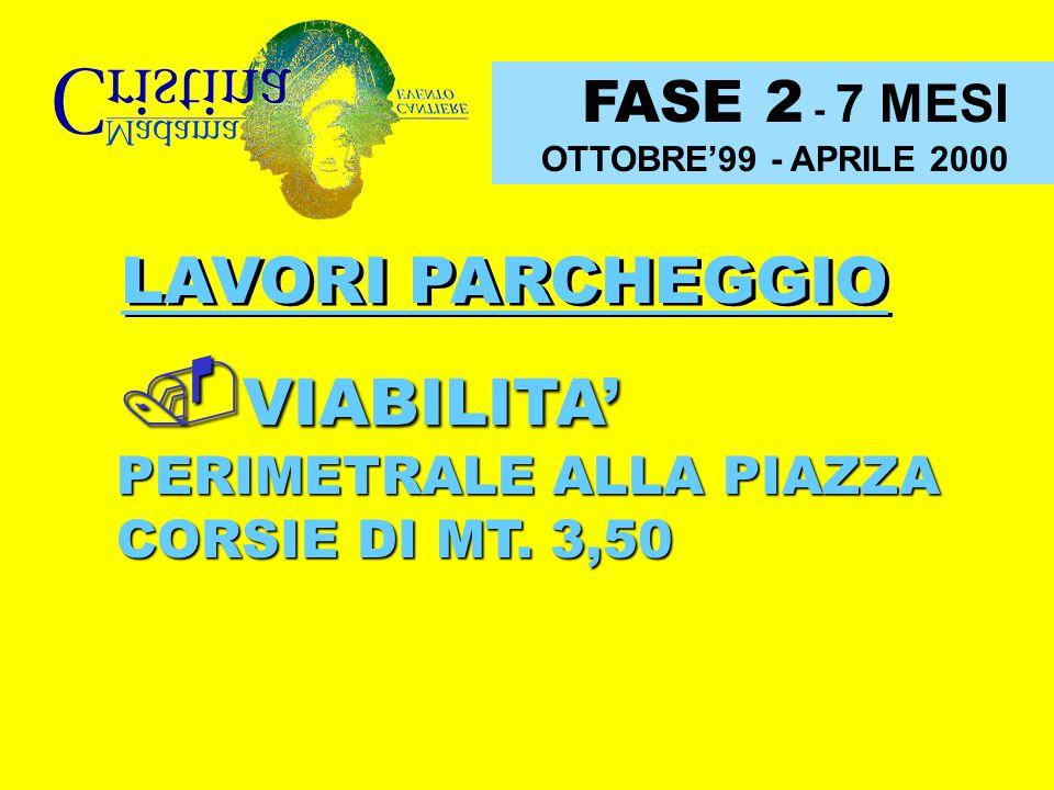 FASE 2 - 7 MESI OTTOBRE'99 - APRILE 2000 LAVORI PARCHEGGIO VIABILITA' PERIMETRALE ALLA PIAZZA CORSIE DI MT. 3,50