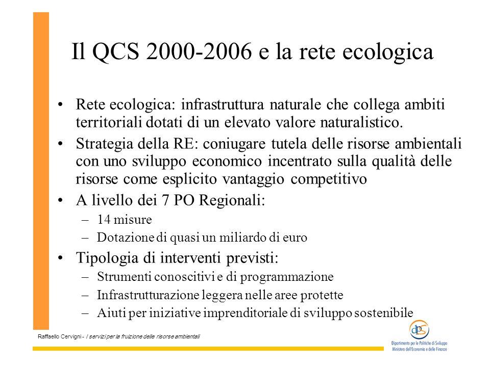 Raffaello Cervigni - I servizi per la fruizione delle risorse ambientali Il QCS 2000-2006 e la rete ecologica Rete ecologica: infrastruttura naturale che collega ambiti territoriali dotati di un elevato valore naturalistico.