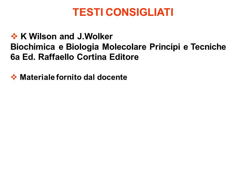 TESTI CONSIGLIATI  K Wilson and J.Wolker Biochimica e Biologia Molecolare Principi e Tecniche 6a Ed. Raffaello Cortina Editore  Materiale fornito da