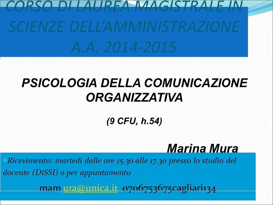 CORSO DI LAUREA MAGISTRALE IN SCIENZE DELL'AMMINISTRAZIONE A.A.