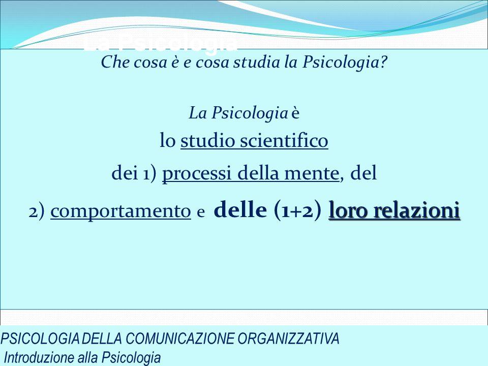 PSICOLOGIA DELLA COMUNICAZIONE ORGANIZZATIVA Introduzione alla Psicologia Che cosa è e cosa studia la Psicologia? La Psicologia è lo studio scientific