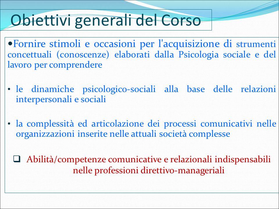 Obiettivi generali del Corso Fornire stimoli e occasioni per l'acquisizione di strumenti concettuali (conoscenze) elaborati dalla Psicologia sociale e