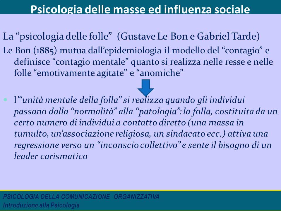 """Psicologia delle masse ed influenza sociale La """"psicologia delle folle"""" (Gustave Le Bon e Gabriel Tarde) Le Bon (1885) mutua dall'epidemiologia il mod"""