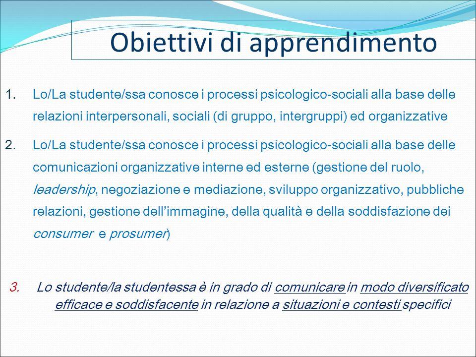 Obiettivi di apprendimento 1.Lo/La studente/ssa conosce i processi psicologico-sociali alla base delle relazioni interpersonali, sociali (di gruppo, i