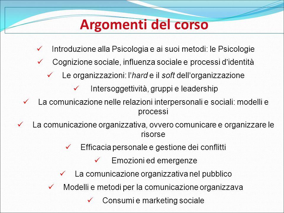 Argomenti del corso Introduzione alla Psicologia e ai suoi metodi: le Psicologie Cognizione sociale, influenza sociale e processi d ' identit à Le org