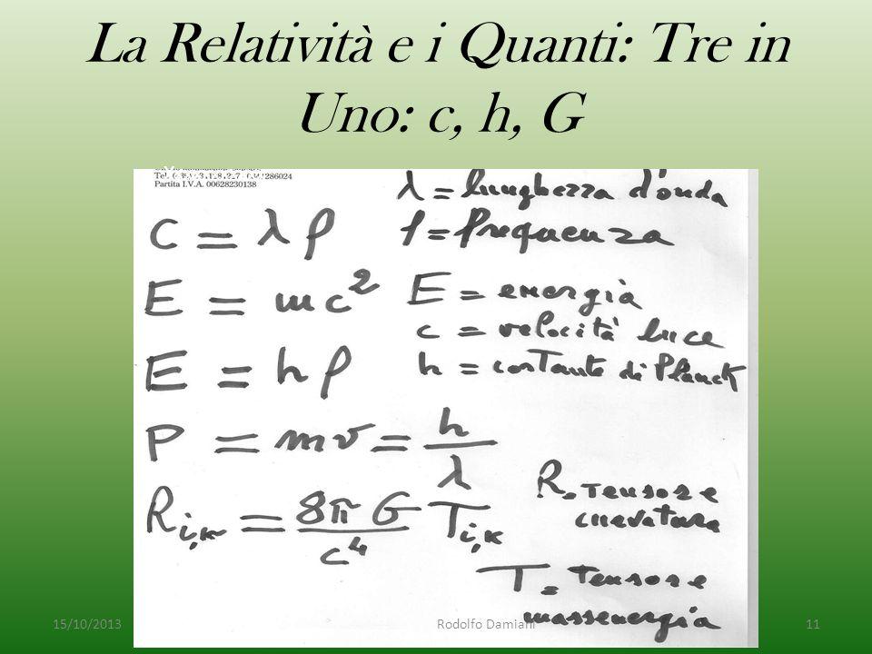 La Relatività e i Quanti: Tre in Uno: c, h, G 15/10/2013 Rodolfo Damiani11 Xxxxxxxxxxx