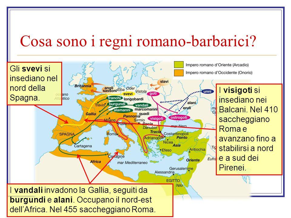 Cosa sono i regni romano-barbarici? I visigoti si insediano nei Balcani. Nel 410 saccheggiano Roma e avanzano fino a stabilirsi a nord e a sud dei Pir