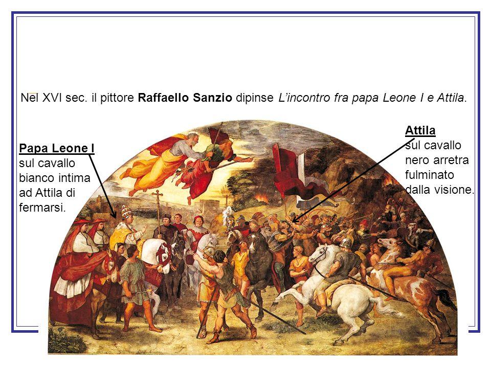 Papa Leone I sul cavallo bianco intima ad Attila di fermarsi. Attila sul cavallo nero arretra fulminato dalla visione. Nel XVI sec. il pittore Raffael