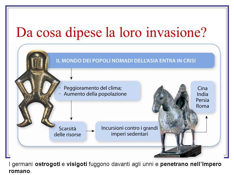 Da cosa dipese la loro invasione? I germani ostrogoti e visigoti fuggono davanti agli unni e penetrano nell'Impero romano.