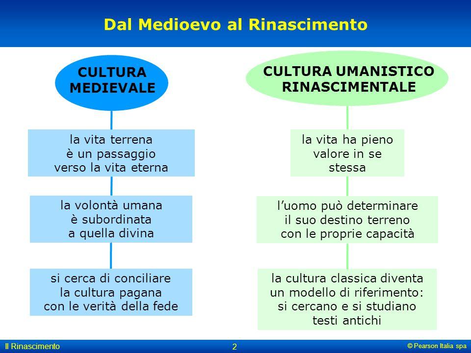 © Pearson Italia spa Il Rinascimento 2 Dal Medioevo al Rinascimento la vita ha pieno valore in se stessa la cultura classica diventa un modello di rif