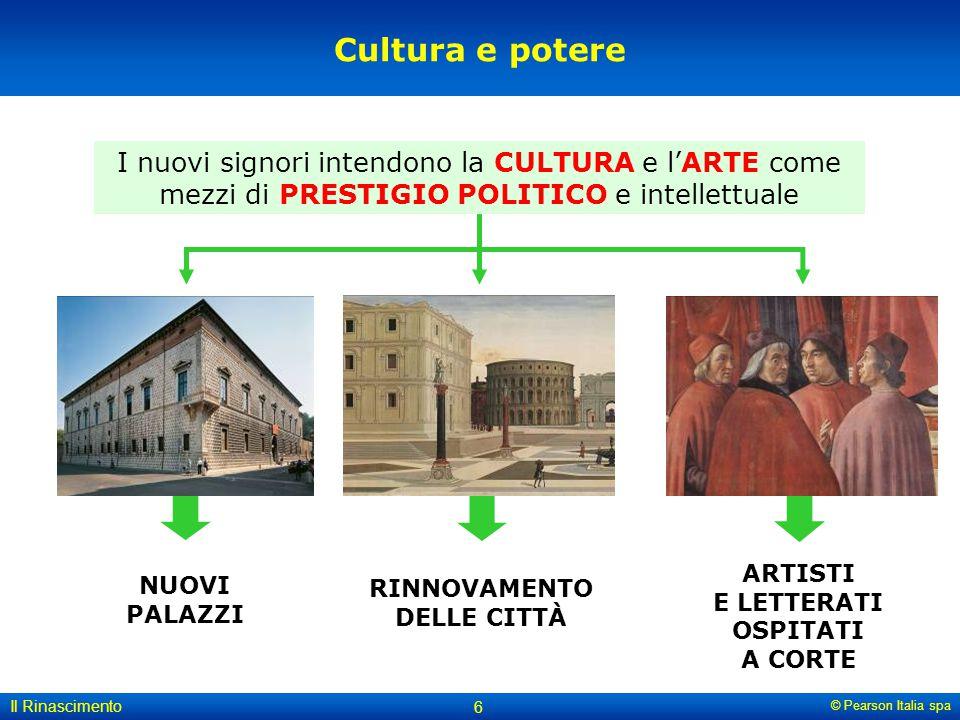 © Pearson Italia spa Il Rinascimento 6 Cultura e potere NUOVI PALAZZI RINNOVAMENTO DELLE CITTÀ ARTISTI E LETTERATI OSPITATI A CORTE I nuovi signori in